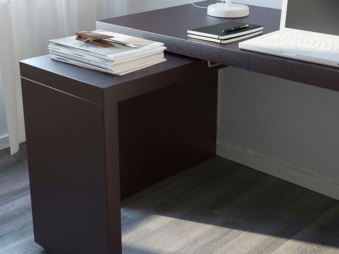IKEA MALM Schreibtisch mit Ausziehplatte, braun